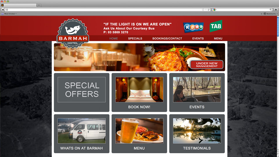 Barmah Hotel Website Design