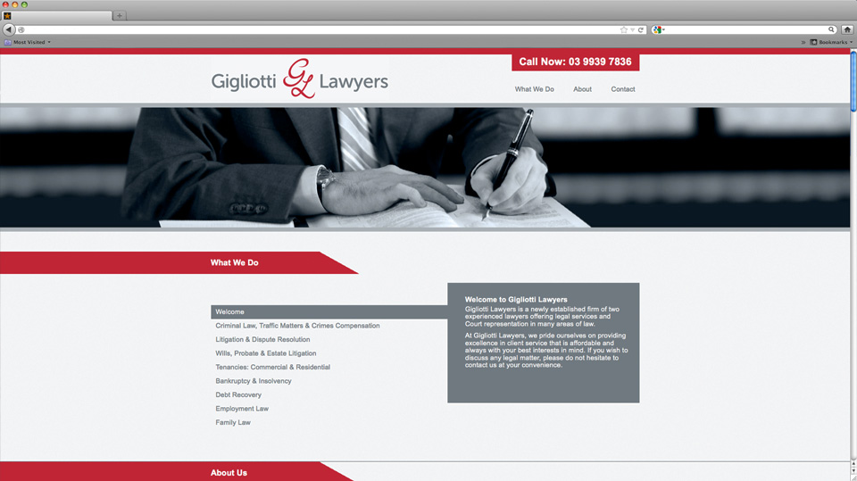 Gigliotti Lawyers Website Design
