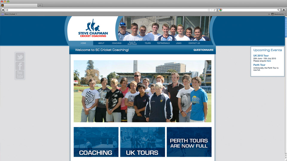 Steve Chapman Cricket Coaching (SSCC) Website Design